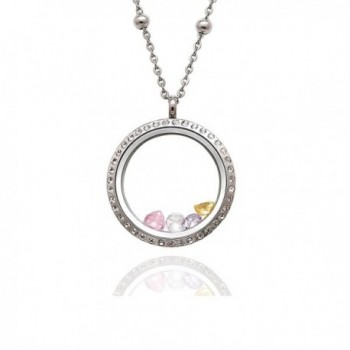 EVERLEAD 316L Stainless Steel Floating Charm Locket living memory locket pendant with Czech Crystals - C4123JE5799