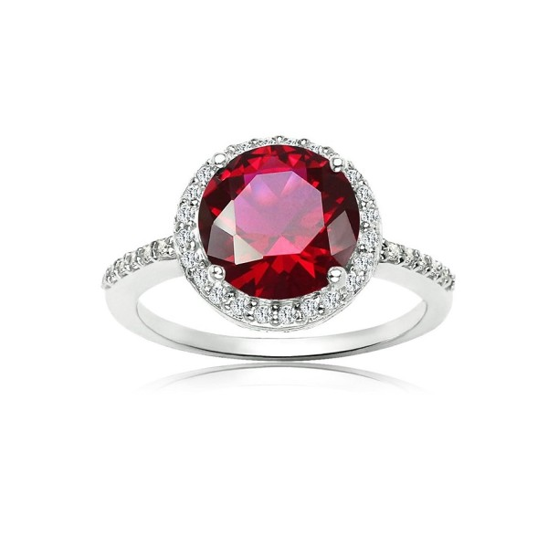 Sterling Silver Simulated Ruby and Cubic Zirconia Round Halo Ring - CW186N54YKD