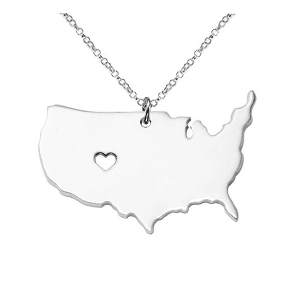 Joyplancraft Large America Necklace-America Map Pendant-Personalized USA State Necklace With A Heart - CB12DDCEOA9