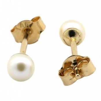 14k Yellow or White Gold or Sterling Silver Freshwater Cultured Pearl Stud Earrings - C911IWQYBAP