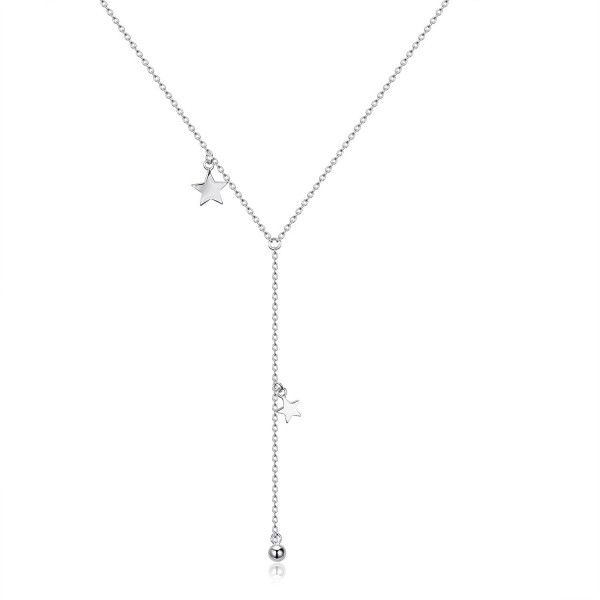 925 Sterling Silver Women Y Style Star Minimalist Drop Pendant Necklace Jewelry Gift - White Gold - CY1882OOQGG