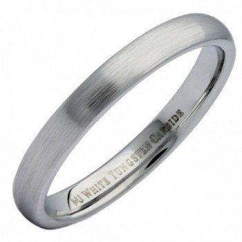 MJ 3mm White Tungsten Carbide Brushed Classic Domed Wedding Ring - C4184TDUMHY