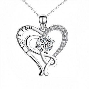 "YFN Sterling Silver ""I Love You"" Infinity Heart Pendant Necklace 18"" - CH17Z6UNSTN"