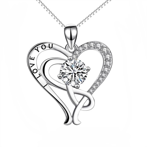 """YFN Sterling Silver """"I Love You"""" Infinity Heart Pendant Necklace 18"""" - CH17Z6UNSTN"""