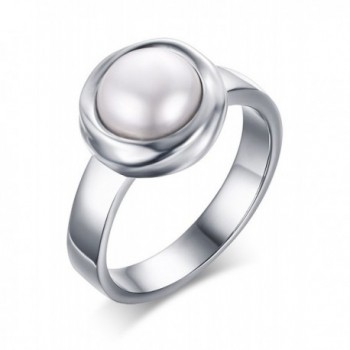 Stainless Steel Freshwater Cultured Pearl Engagement Ring for Women-Size 8 - CO184C3Y4UR