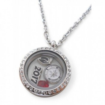 Graduate Gift Locket Necklace with Birthstone - Good Luck on the Path Ahead of You - CS17YA3HIET