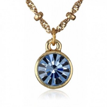 """1928 Jewelry """"Best of Times"""" 14k Gold Dipped Pendant Necklace- 16"""" - Gold/Blue - CV11KBIGBDN"""