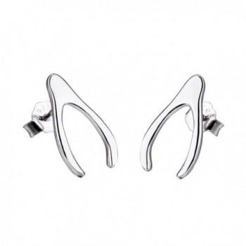 925 Sterling Silver Good Luck Jewelry Fashion Cute Wishbone Stud Earrings for Women Girls - CD17YGQU5S5