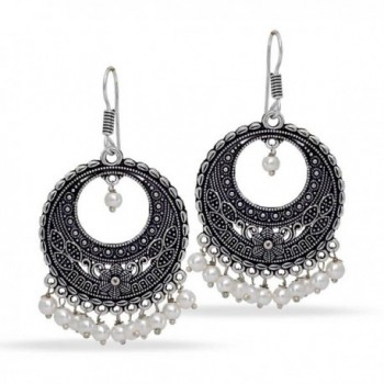 Jaipur Mart Indian Bollywood Glass Stone Silver Plated Earrings White Jewellery - CF17XMLQO7T