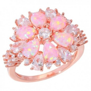 CiNily Pink Opal Zircon Women Jewelry Gemstone Rose Gold Plated Ring Size 5-12 - CA17YHZ34UX