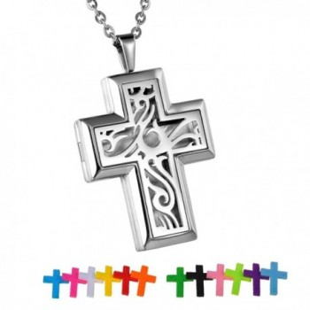 HooAMI Cross Stainless Steel Aromatherapy Essential Oil Diffuser Necklace Locket Pendant - Silver - C312IFRTPRP