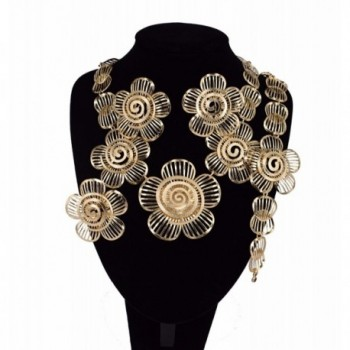 MOOCHI 18K Gold Plated Big Sun Flower Africa Style Pendant Costume Necklace Alloy Jewelry Set - CE185X8OU3A