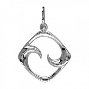 Small Diamond Shape Maori Koru New Beginnings Charm with Two Curls in Sterling Silver - CR119OD0IG7