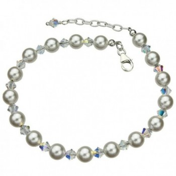 """Sterling Silver Ankle Bracelet- Simulated Pearls Made with Swarovski Crystals 9""""+1"""" Extender - CA11EGMMGCZ"""