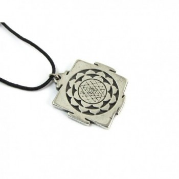 Hindu Sri Yantra for Growth and Healing Amulet Pewter Pendant with Cord Necklace - CW1155N8KFV