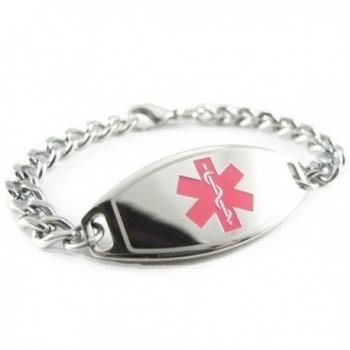 MyIDDr - Pre-Engraved & Customized Asthma Medical Alert ID Bracelet- Pink - CF119GT8BLN