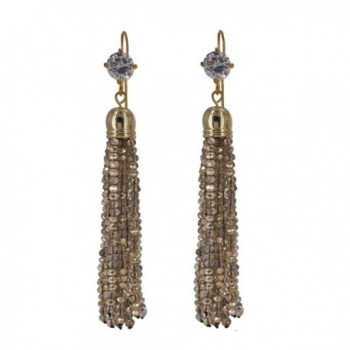 J.Shine Women Girl Created Crystal Golden Shadow Tiny Beaded Tassel Earring GE609 - CC12MZDNJ6I
