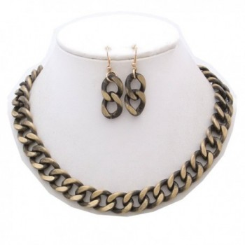 StyleNo1 FASHIONABLE BURNISHED NECKLACE EARRINGS - GOLD BURNISHED - C6185H5CR2S