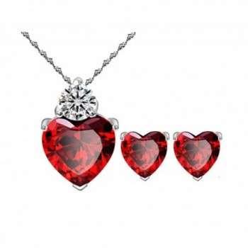 Most Beloved Bright Red Austrian Crystal Heart Shape Pendant Set With Earrings For Women - CA12F581VUL