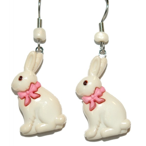 Pink & Cream Easter Bunny With Pink Bow Dangle Earrings (H113) - CT17YETC0LR