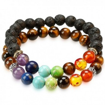 2 PACK CHAKRA BRACELETS by HoodaSpa - 7 Chakras and Lava + select from Six Other Genuine Stone Bracelets - CA1884GQXWH