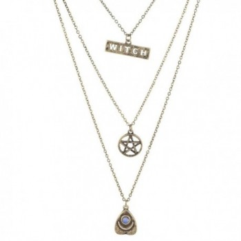 Lux Accessories Burnished Gold Witch Wiccan Pentagram Opal Layered Necklace - C7183WYOWXK