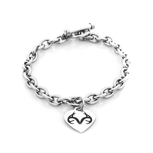 Realtree Heart Toggle Silver Stainless Steel Bracelet- Licensed and Authentic - CU120848PKB
