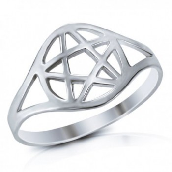 MIMI 925 Sterling Silver Wicca Pentacle Ring - CK119XVWS5T