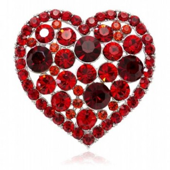 Akianna Swarovski Element Crystals Valentine Heart Pin Brooch - Red - C6120A7YH7F