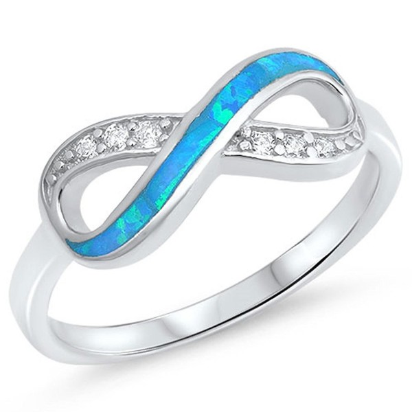 Sterling Silver Infinity Ring - Blue Simulated Opal - CL12N45GLXE