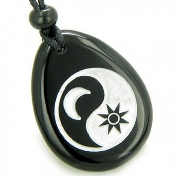 Positive Energy Forces of Nature Sun Moon Ying Yang Amulet Black Agate Pendant Necklace - CG114FCPBG9