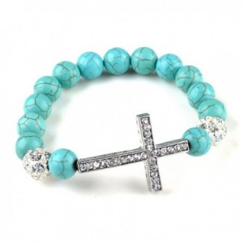 Fashion Jewelry Created-Turquoise Beads sideway cross rhinestones bracelet - C8119HC3IV7