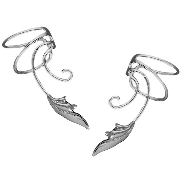 Delicate Leaf Curly Wave Ear Cuff Non-pierced Cartilage Wrap Earring Pair in Sterling Silver - CW12NTWB3KG