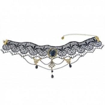 MJARTORIA Halloween Gothic Style Vintage Twine Chain Beads Pendant Lace Choker Collar Necklace Black - CB11X2MMEK9