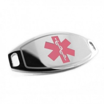 MyIDDr - Steel- Medical Alert ID Plate- Can be Attached to an ID Bracelet- Pink Symbol - C2116JZY5DZ