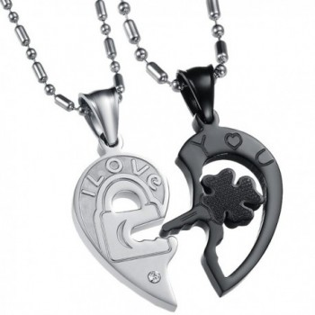 UM Jewelry His and Hers Stainless Steel Crystal Lock Key Puzzle Heart Pendant Couple Necklaces - Black - CI11SGSFUGT