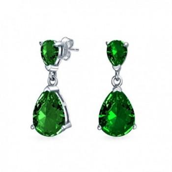 Bling Jewelry Simulated Emerlad CZ Double Tear Drop Sterling Silver Drop Earrings - CB11L6VPSPB