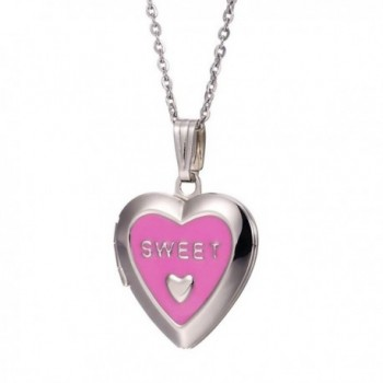 Paialco Sweet Heart Locket Pendant Necklace Keep Living Memory Lover Photo - Pink - CW11Y5H4NQN