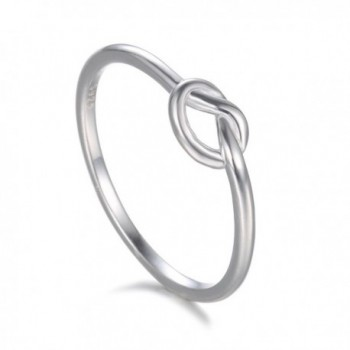 925 Sterling Silver Ring- BoRuo Wedding Engagement Celtic Love Knot Plain Heart Band Ring Size 4-12 - CR17WYY0I09
