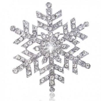 EVER FAITH Austrian Crystal Bridal Elegant Snowflake Flower Brooch Clear Silver-Tone - CQ11I5PKPBX