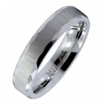MJ 5mm White Tungsten Carbide Brushed Sideways Finish Grooved Edges Wedding Band Ring - C112ID2TZK9