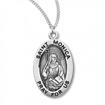 Heartland Women's Sterling Silver Oval Saint Monica Pendant + Best Quality USA Made + Chain Choice - CL119PY7EIP