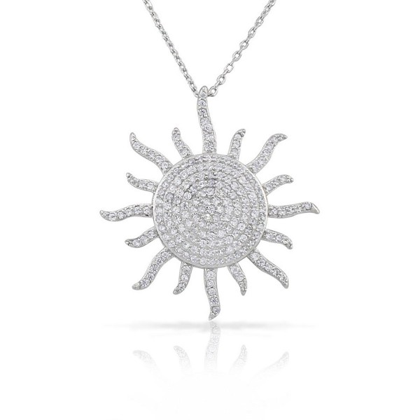 """925 Sterling Silver White Clear CZ Sun Pendant Necklace- 18"""" - CL11OBCMF7B"""