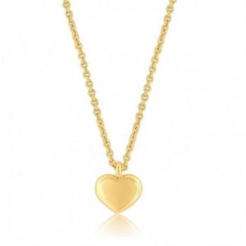 "Heart Necklace- Heart Pendant Necklace- 24K Gold Plated -16"" + 2"" Extender - C812NU74SMZ"