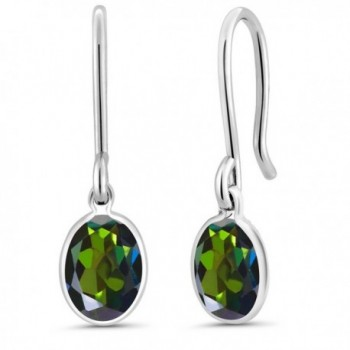1.60 Ct Oval Tourmaline Green Mystic Topaz 925 Sterling Silver Earrings - CP118KZ5Z0T
