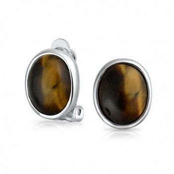 Bling Jewelry Simulated Tiger Eye Clip On Earrings Rhodium Plated Alloy - C511RRW5L69