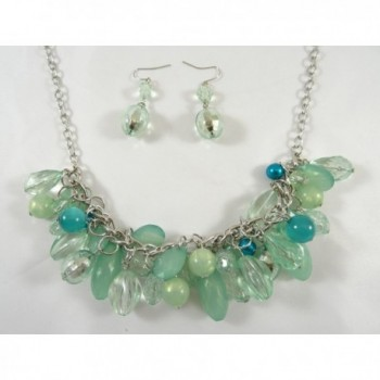 New Necklace Earring Set with Seafoam Colored Faceted Beads - C911L9HH6EX