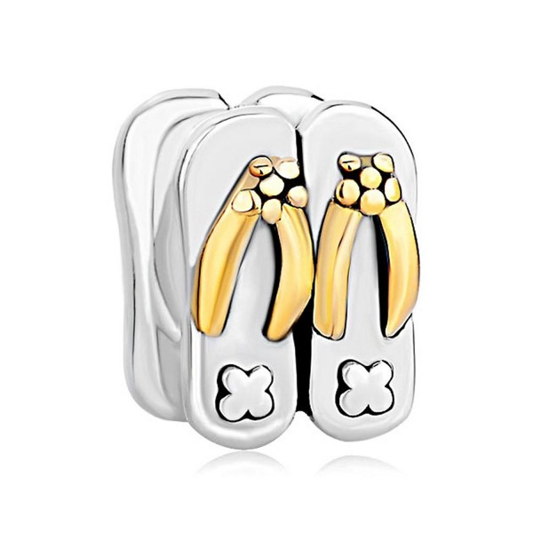 LovelyJewelry Sterling Silver Beach Slippers Charm Beads For Bracelet - CY12MALJFI3