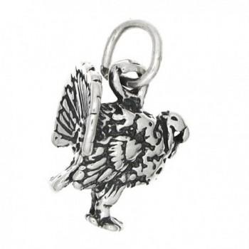 Sterling Silver Oxidized Tiny Three Dimensional Wild Turkey Charm - CT115T2SSQT