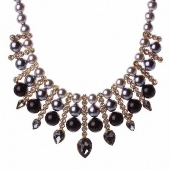 Women Artificial Pearl Chunky Collar Resin Teardrop Rhinestone Chain Necklace - Black - C1125S165F1